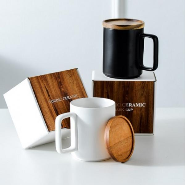 Ceramic Mug with Wooden Lid Household Products Drinkwares New Arrivals HDC1070-01