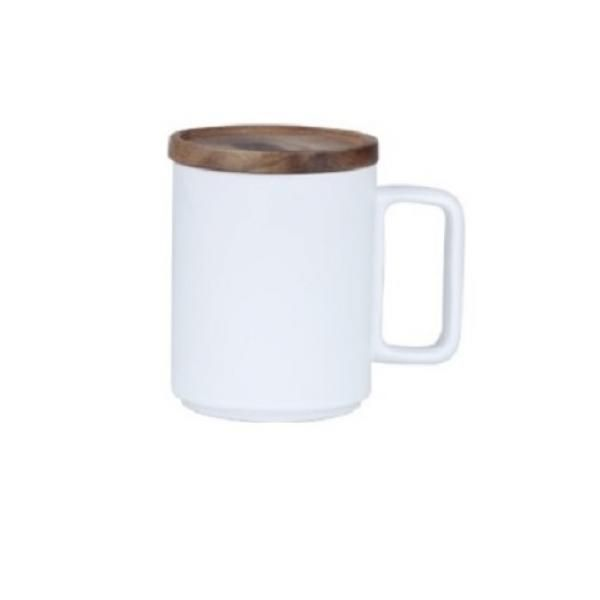 Ceramic Mug with Wooden Lid Household Products Drinkwares New Arrivals HDC1070-WHT