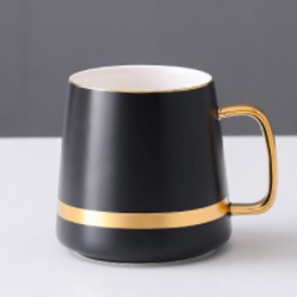 Ceramic Mug with Golden Design Household Products Drinkwares New Products HDC1071-BLK