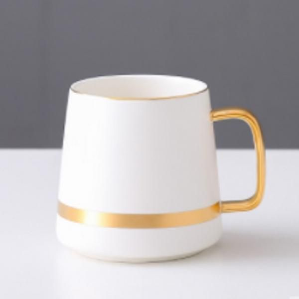 Ceramic Mug with Golden Design Household Products Drinkwares New Products HDC1071-WHT