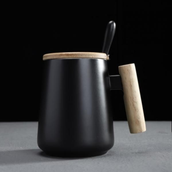 Ceramic Mug with Wooden Handle Lid & Spoon Household Products Drinkwares New Products HDC1073-BLK