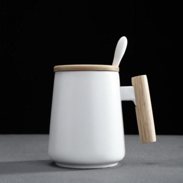 Ceramic Mug with Wooden Handle Lid & Spoon Household Products Drinkwares New Products HDC1073-WHT