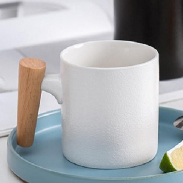 Matte Surface Ceramic Mug with Wooden Handle Household Products Drinkwares New Products HDC1075-WHT