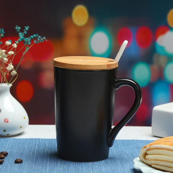 Minimalist Ceramic Mug with Wooden Lid & Spoon Household Products Drinkwares New Arrivals 6