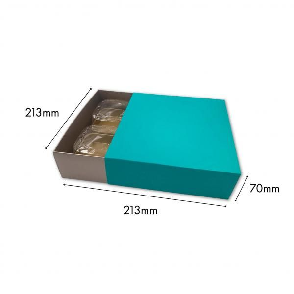 Large Drawer Mooncake Box New Arrivals Festive Products Food & Catering Packaging Others Food Packaging TurqouisSilver-4pcsDrawerBox