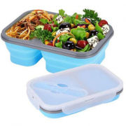 Collapsible Lunch Box 2 Compartment with Forkspoon Household Products Kitchenwares Earth Day 4