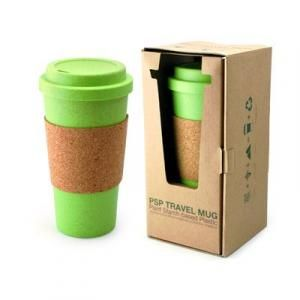 PSP Hot Beverage Travel Mug With Cork Sleeve Household Products Drinkwares Best Deals CLEARANCE SALE UMG1501Grn