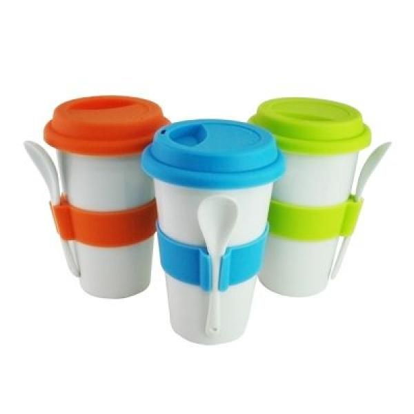 Double Wall Porcelain Mug with Spoon Household Products Drinkwares Best Deals CLEARANCE SALE UMG1400