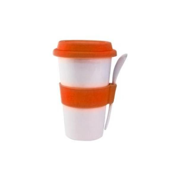 Double Wall Porcelain Mug with Spoon Household Products Drinkwares Best Deals CLEARANCE SALE UMG1400_orange