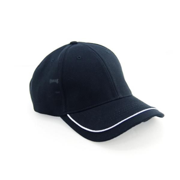 Cool Max Cap with Piping on Peak Headgears CAP1108Blk