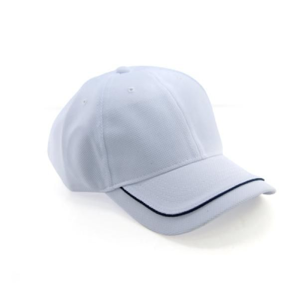 Cool Max Cap with Piping on Peak Headgears CAP1108Wht