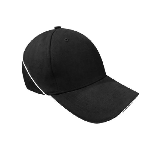 Brushed Cotton Cap w Piping Sandwich Silver Buckle-AP Headgears CAP1104BLK