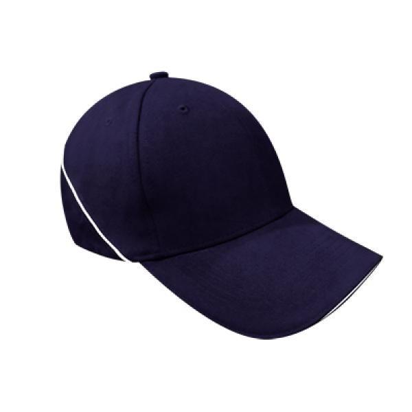 Brushed Cotton Cap w Piping Sandwich Silver Buckle-AP Headgears CAP1104BLU