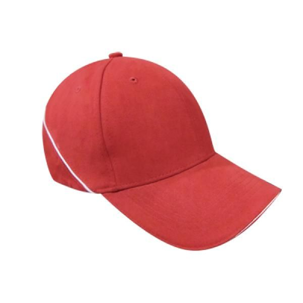 Brushed Cotton Cap w Piping Sandwich Silver Buckle-AP Headgears CAP1104RED