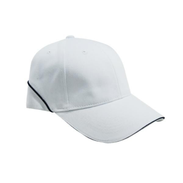 Brushed Cotton Cap w Piping Sandwich Silver Buckle-AP Headgears CAP1104WTH