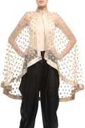 Beige & gold embroidered high-low cape