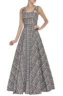 Brocade embroidered gown