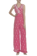 Floral Thread & Sequin Embroidered Jumpsuit
