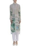 Asymmetric Floral Embroidered Tunic