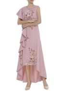 3D Floral Embroidered Draped Dress