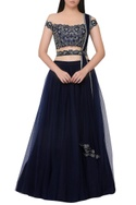 Floral embroidered off-shoulder blouse with lehenga
