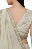 Pre-pleated embroidered sari & blouse