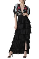 Crewel embroidered ruffle layered dress