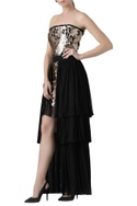 Fish motif embroidered dress with ruflfe skirt