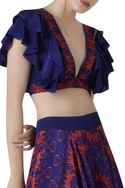 Ruffle top with printed flared skirt