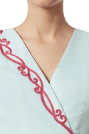 Crewel embroidered wrap top