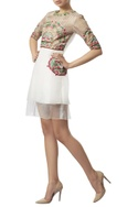 Crewel embroidered zipper dress
