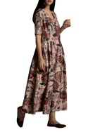Floral print Side Pleated Maxi Dress