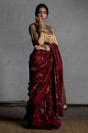 Digital printed blouse with churidar sleeves