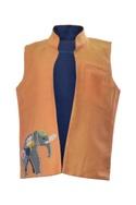 Elephant Embroidered Open Jacket