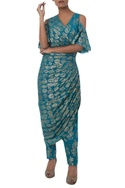 Wrap Style Foil Print Kurta With Pants