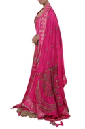 Chaand & Floral Embroidered Lehenga With Double Dupatta