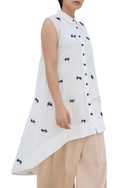 Threadwork embroidered high low tunic