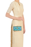 Blue printed clutch with embellishment