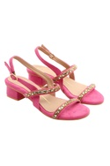 Pink block heels with stone work