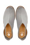 Grey peep toe flats