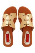 Gold flats with lacing pattern