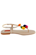 Off-white sandals with colorful pom-poms