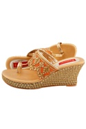 Gold & orange embroidered wedges