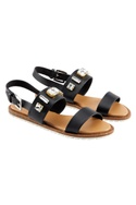 Black sandals with studded embellishments