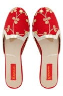 Red embroidered slip-on flats