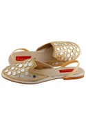 Beige sandals with mirror-work