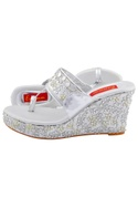 Silver wedges with embellishments