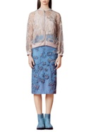 Powder blue pencil skirt with embroidery