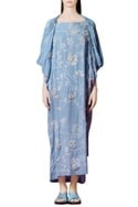 Powder blue kaftan with cowl drape