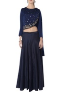 Navy blue skirt set with floral embroidery